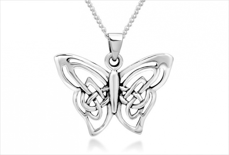 Celtic Butterfly Pendant Necklace