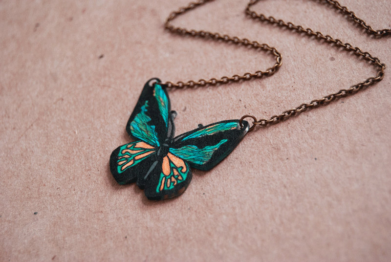 Simple Butterfly Pendant Necklace