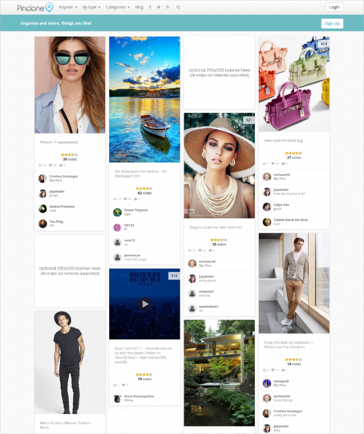 simple pinterest wordpress theme