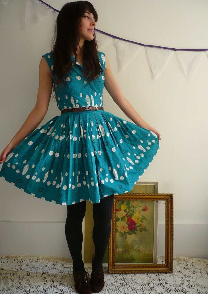 Blue Lace Belt Dress
