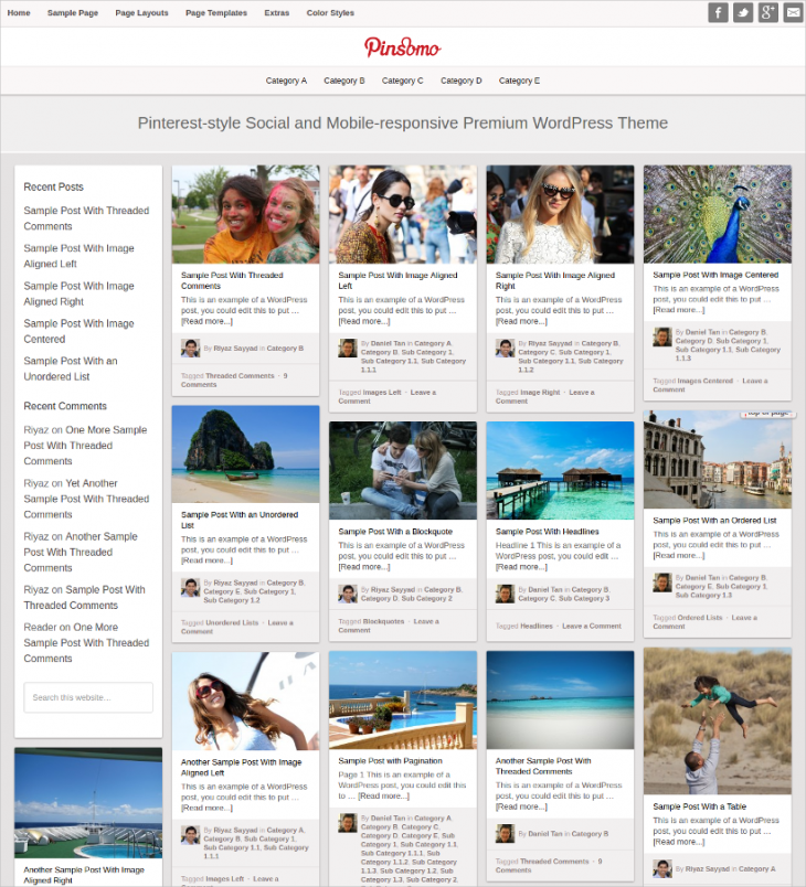 mobile responsive pinterest wordpress theme