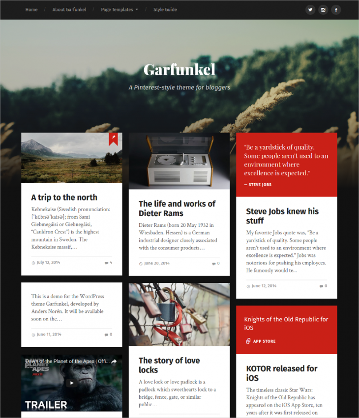 Stylish Pinterest WordPress Theme