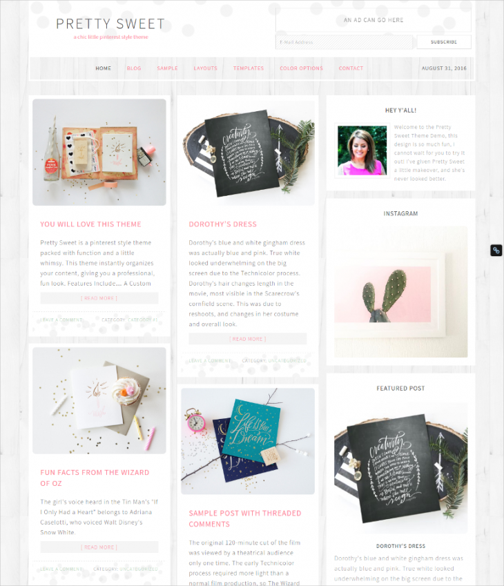modern pinterest blog wordpress theme