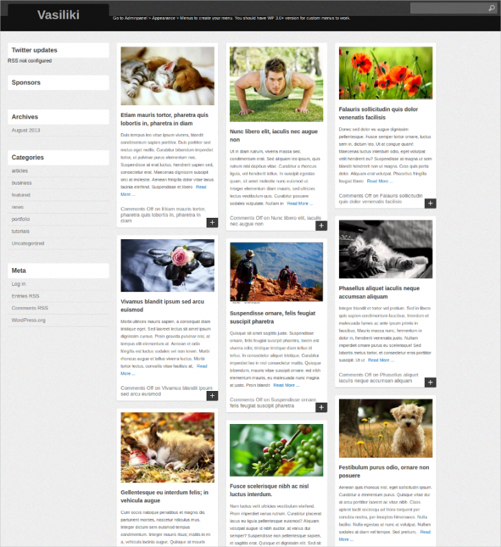 pin style blog wordpress theme