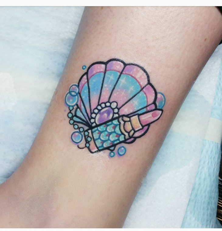 colorful shell tattoo design