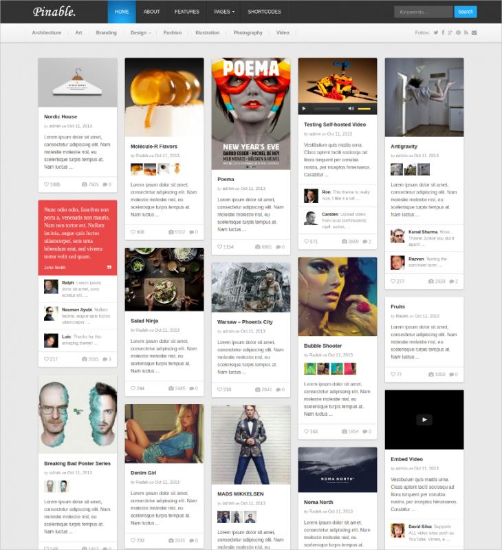 Pinable Gallery WordPress Theme