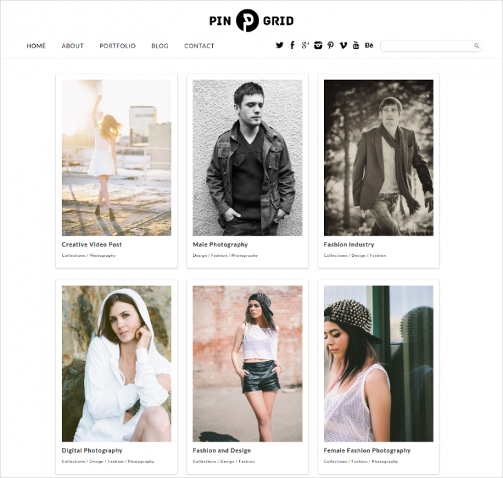 Responsive PinGrid WordPress Theme