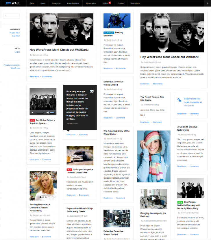 responsive pinterest wordpress theme