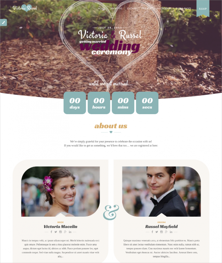 wedding instagram wordpress theme