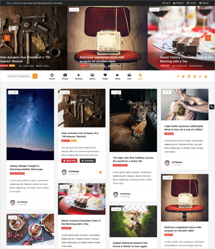 modern grid wordpress theme