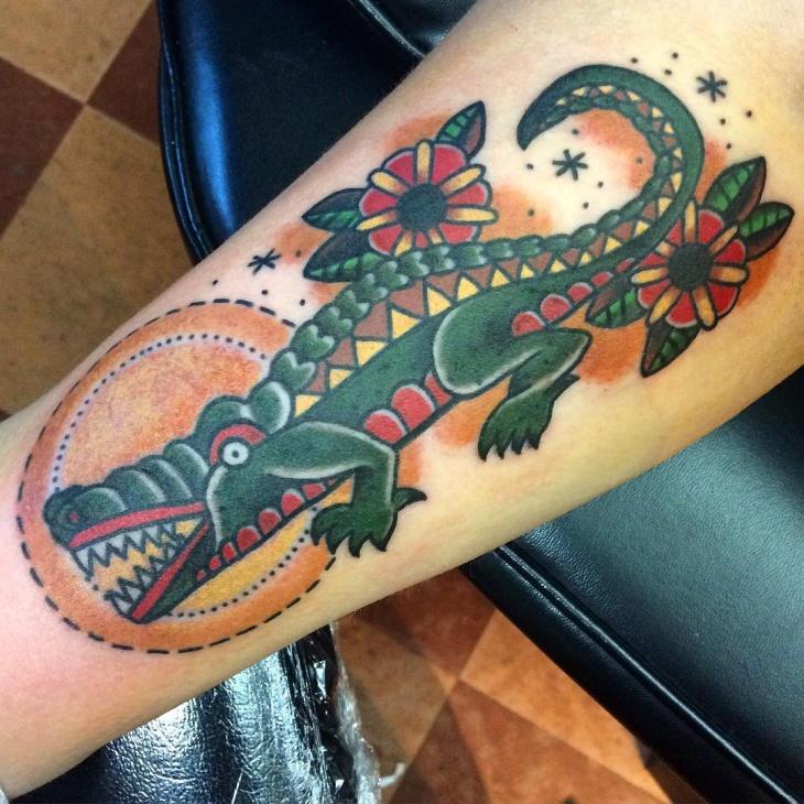 Traditional Alligator Tattoo