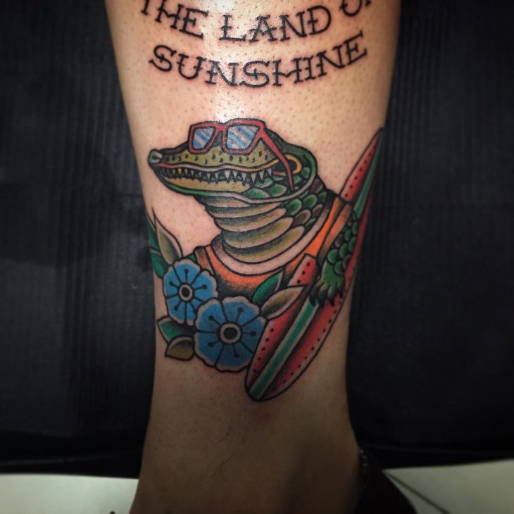 stylish alligator tattoo
