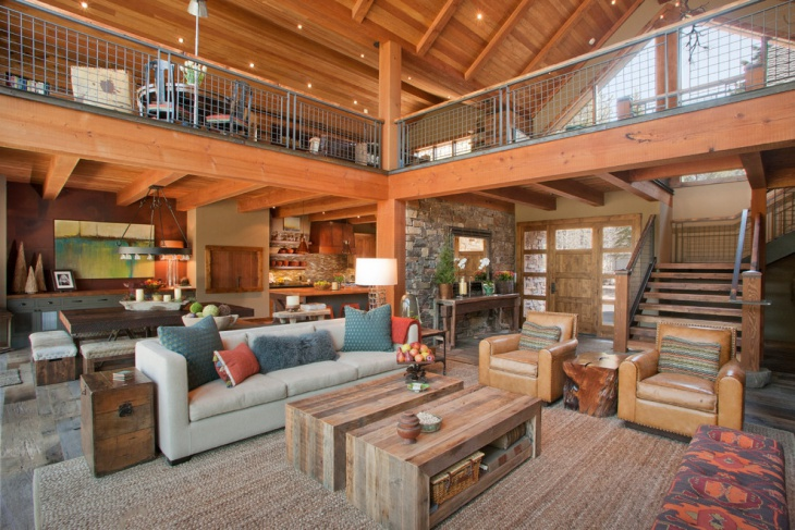 Open Concept Chalet Living Room Idea