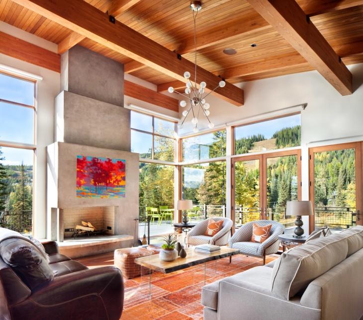 modern ski chalet living room