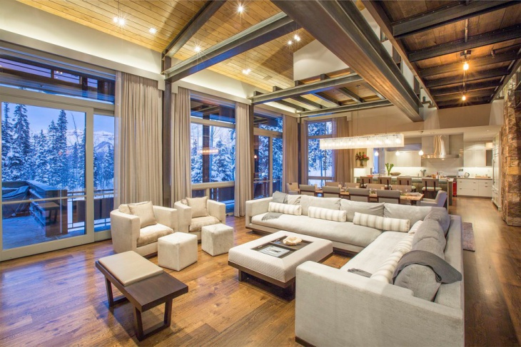 classic ski chalet living room
