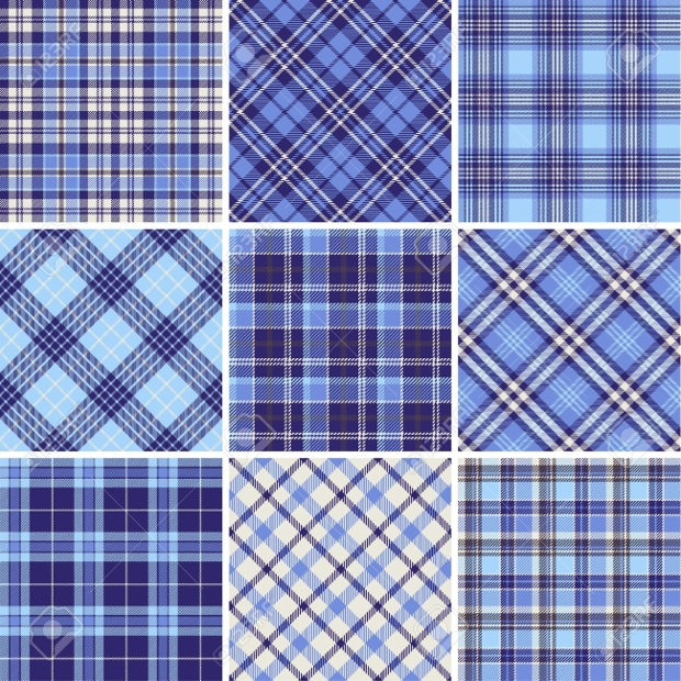 Set of Seamless Blue Plaid Tartan Pattern