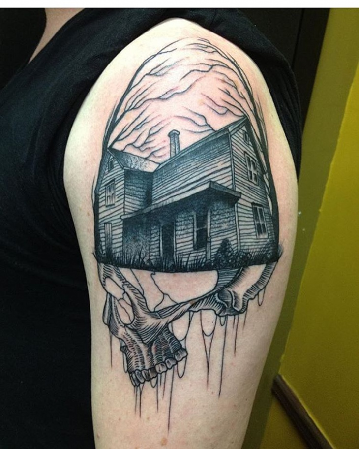 Haunted House Shoulder Tattoo