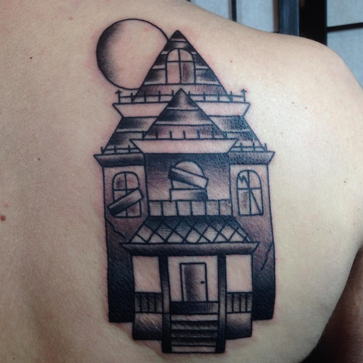 Haunted House Back Tattoo Design