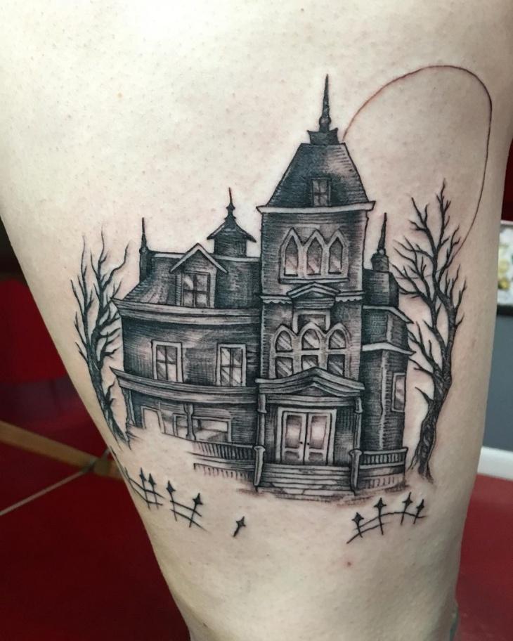 haunted mansion tattoo idea
