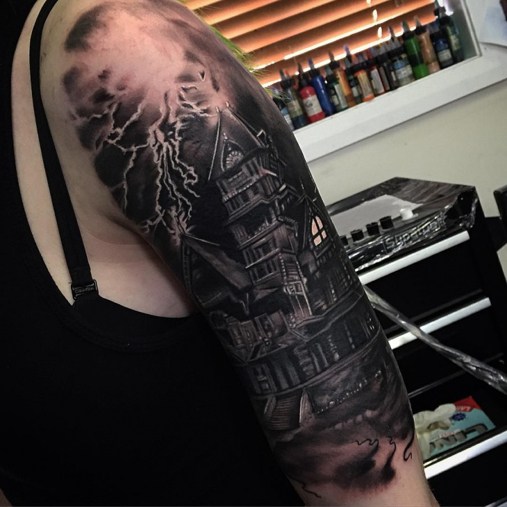 Black and Grey Haunted House Tattoo