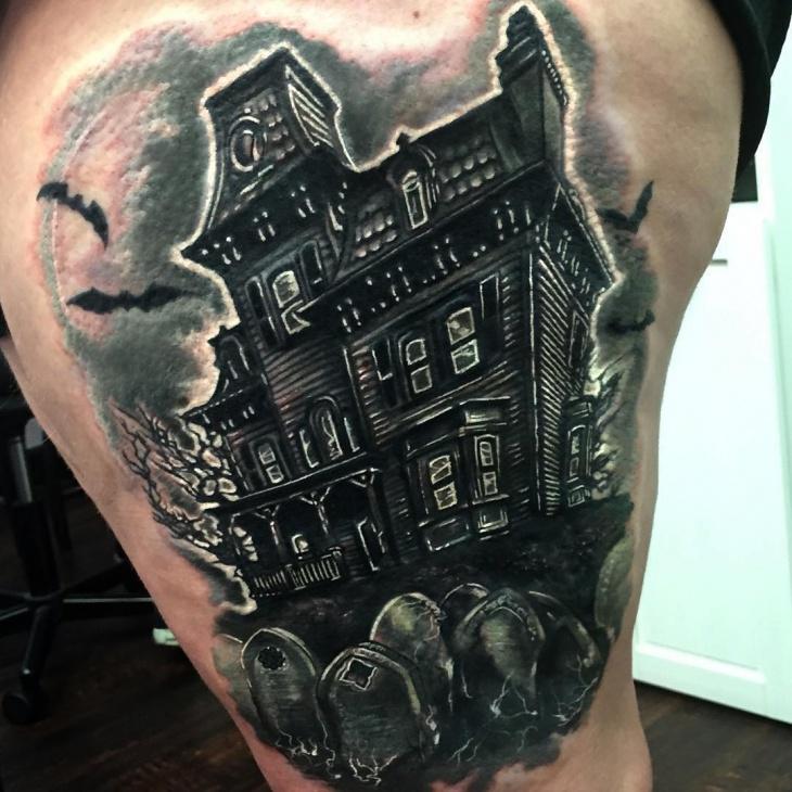 15 haunted house tattoo designs ideas design trends premium psd vector downloads. Black Bedroom Furniture Sets. Home Design Ideas