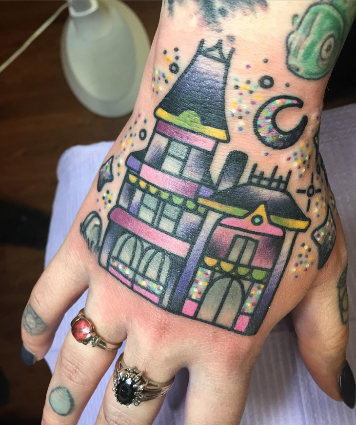 Haunted House Tattoo for Palm