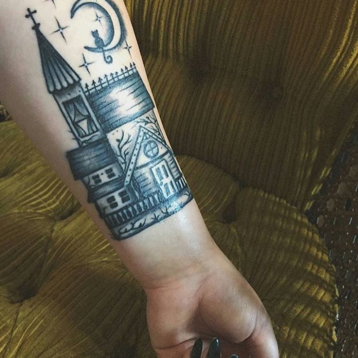 Arm Haunted House Tattoo
