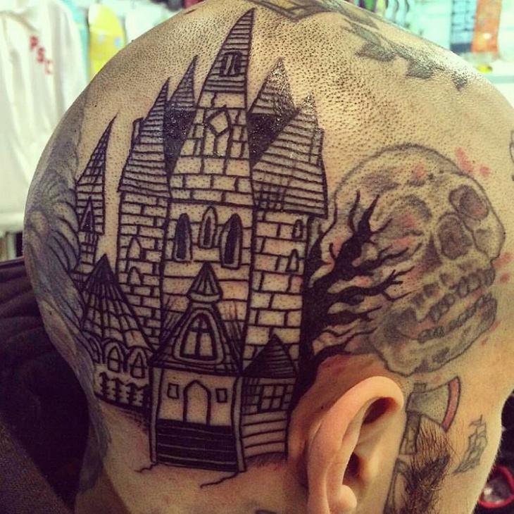 haunted house head tattoo