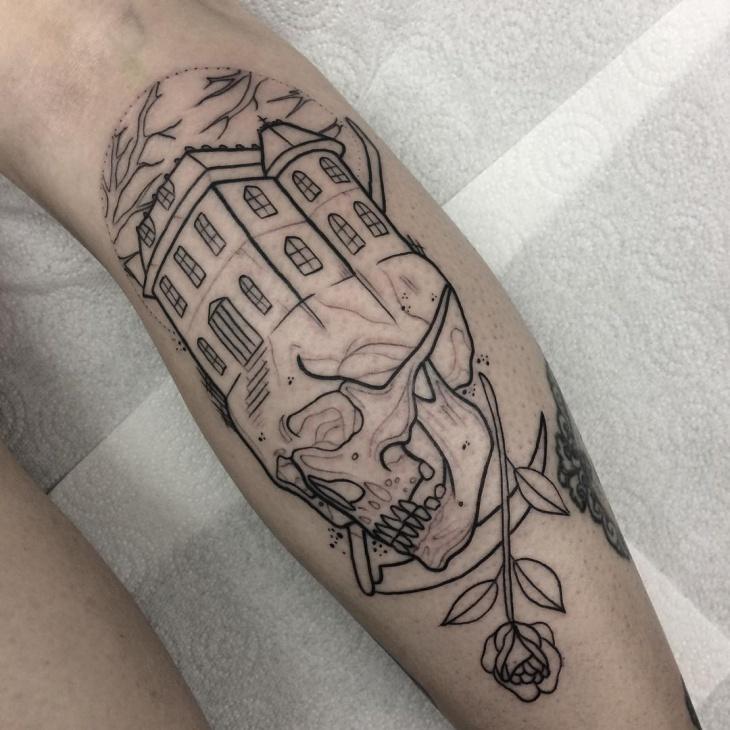 halloween haunted house tattoo idea