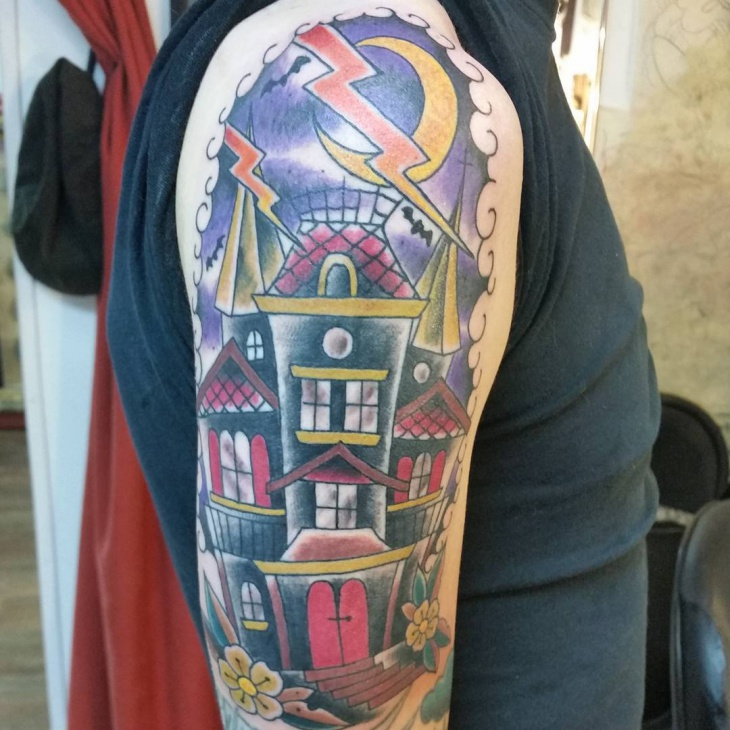 Colorful Haunted House Tattoo
