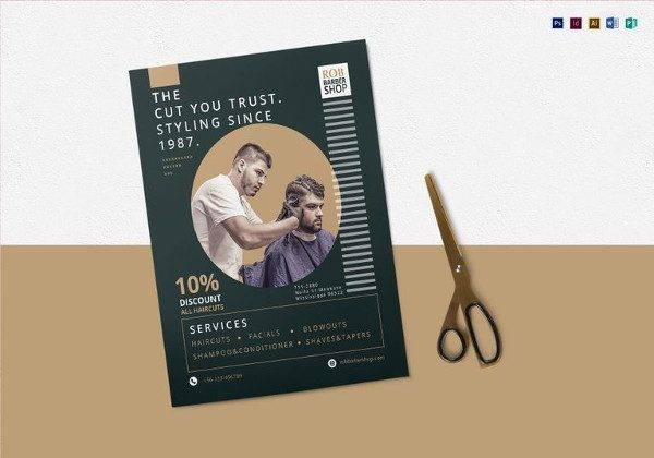 barbershop flyer template in psd 600x420