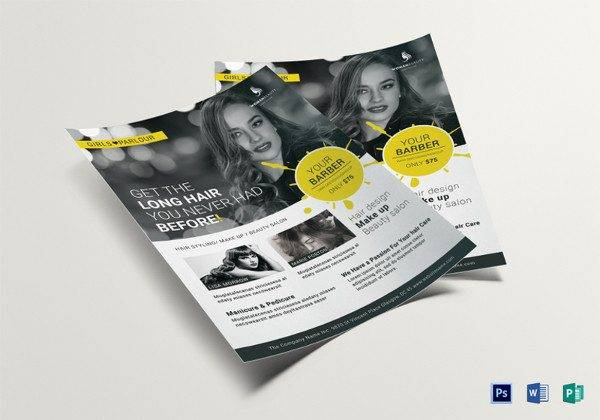 beauty barber flyer template in psd publisher format 600x420