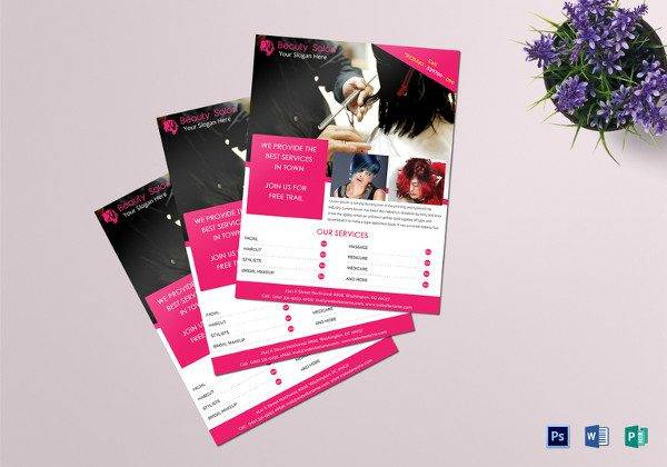 beauty salon flyer template 600x420