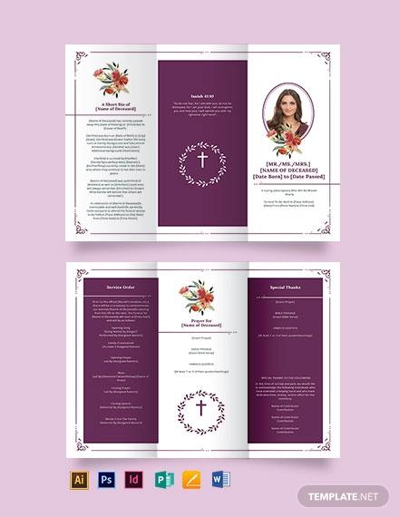 blank catholic funeral tri fold brochure template