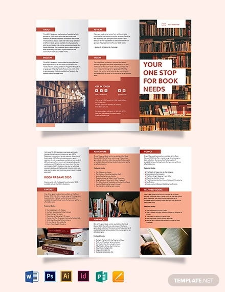 book tri fold brochure template