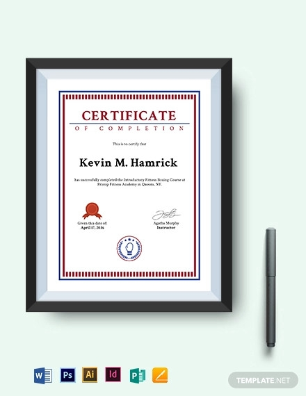 boxing fitness certificate template