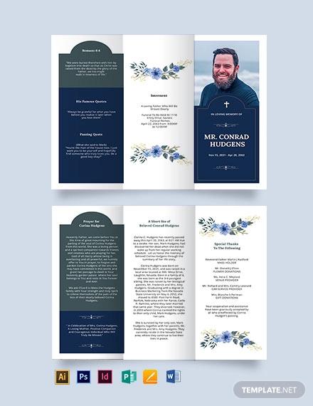 catholic burial funeral tri fold brochure template