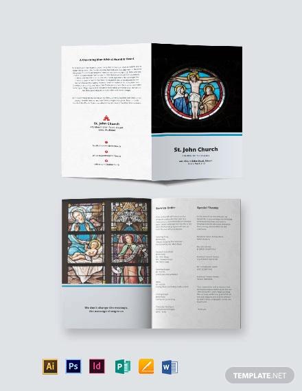 catholic funeral mass bi fold brochure template
