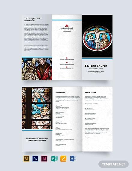catholic funeral mass tri fold brochure template