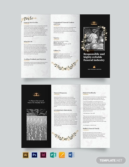 catholic funeral service tri fold brochure template