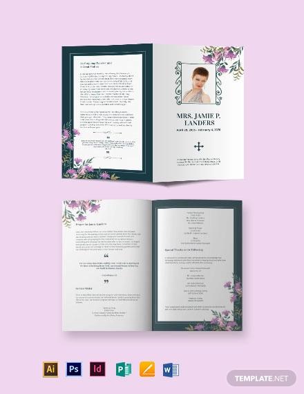 celebration of life catholic funeral bi fold brochure template
