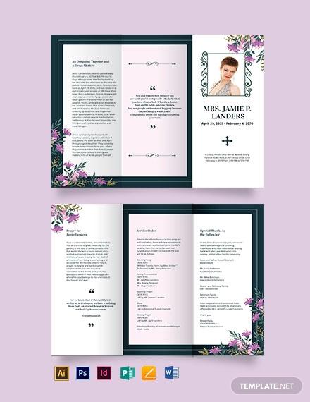 celebration of life catholic funeral tri fold brochure template