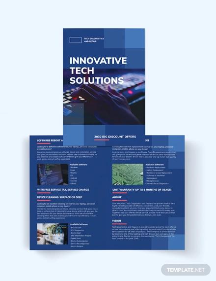 computer service bi fold brochure template