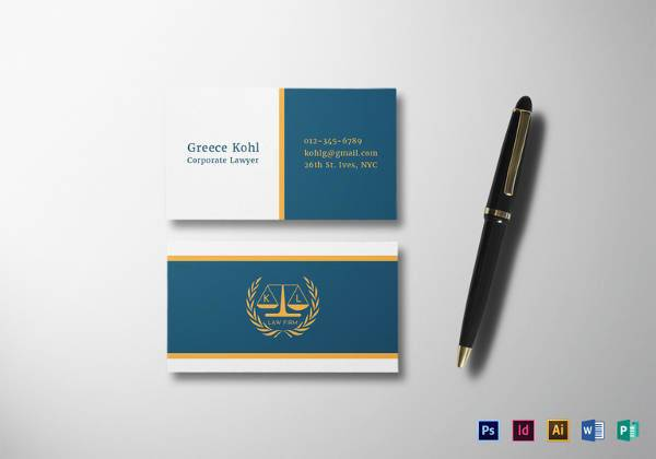 corporate lawyer business card template 600x420