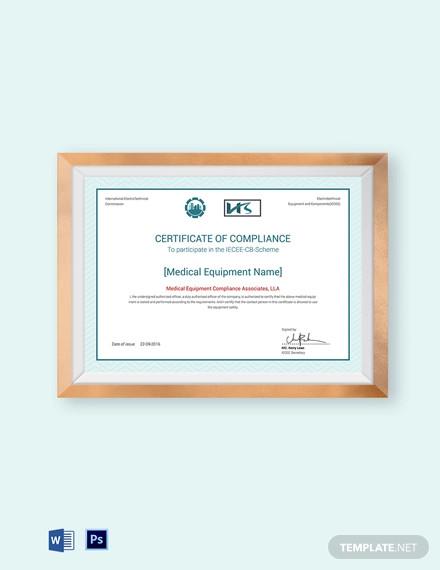 equipment testing compliance certificate