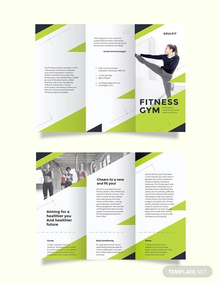 fitness gym tri fold brochure template