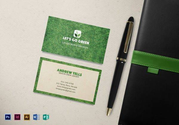 landscaping business card template 600x420