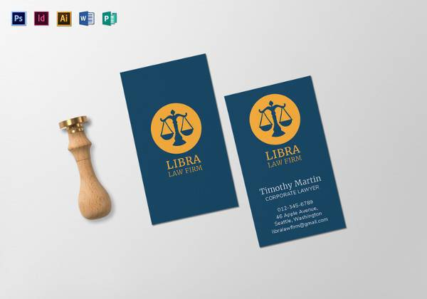 law firm business card template 600x420