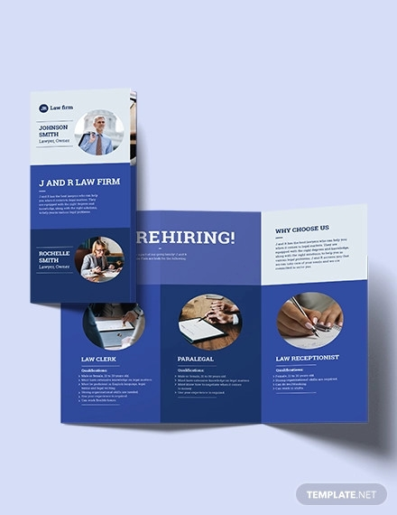 lawyer law firm tri fold brochure template
