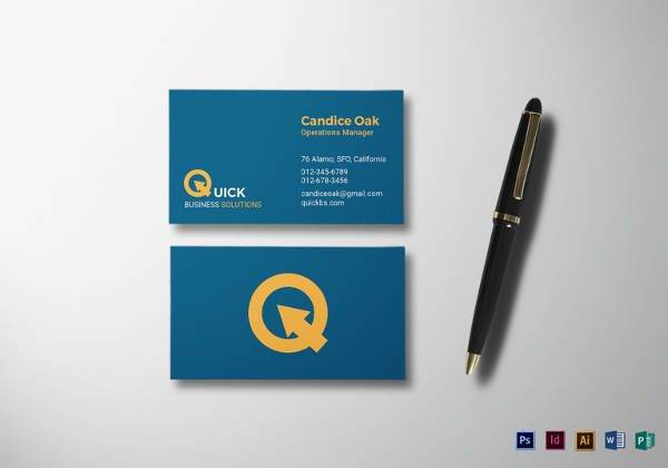 manager business card template 600x420
